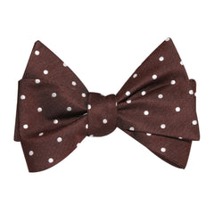 Chocolate Soufle Bow Tie, Brown Tie with White Dots