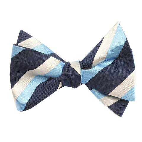 blue and white striped bow tie, tied view