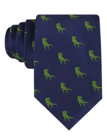 navy neck tie with green t-rex dinosaurs