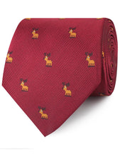 Load image into Gallery viewer, 80's Christmas Comeback Neck Tie - Reindeer Christmas Necktie Rolled View