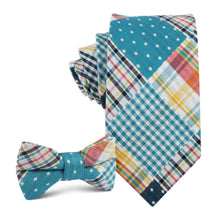 Load image into Gallery viewer, Plaid/Gingham/Polkadot - father & son matching bow tie neck ties