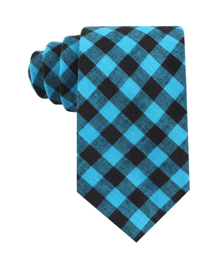 Approachable Scott - Blue and Black Cotton Neck Tie front view