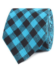 Approachable Scott - Blue and Black Cotton Neck Tie rolled view