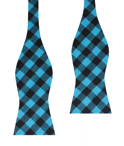 Approachable Scott - Blue and Black Cotton Self-Tied Bow Tie