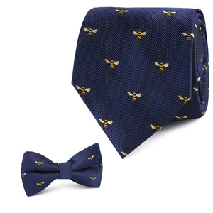 Matching father/son neck tie and bow tie with bees