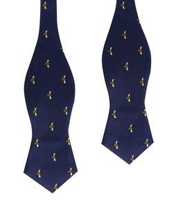 Bees Bow Tie - Self-Tie Diamond-Point Bow Tie Untied
