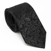 Load image into Gallery viewer, Black Tie Affair - Mens Neck Tie Black Paisley