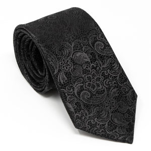 Black Tie Affair - Mens Neck Tie Black Paisley