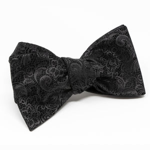 100% Silk Black Paisley Men's Bow Tie - Self-Tie