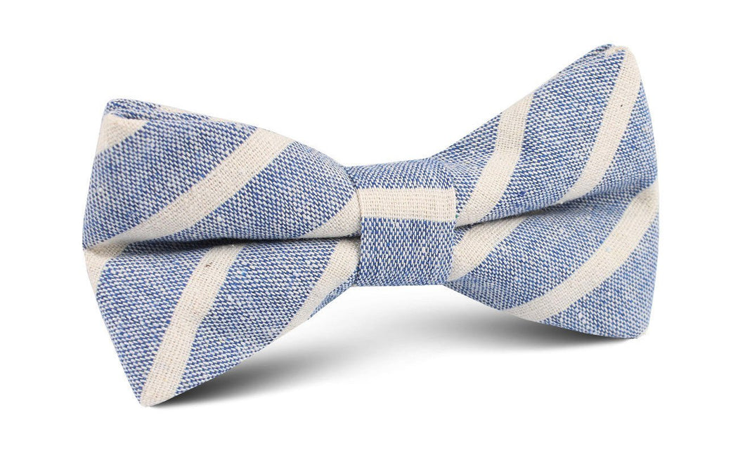 Blue Skies - Blue & White Linen Pre-Tied Bow Tie