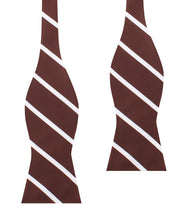 Load image into Gallery viewer, Brown and white striped untied bow tie