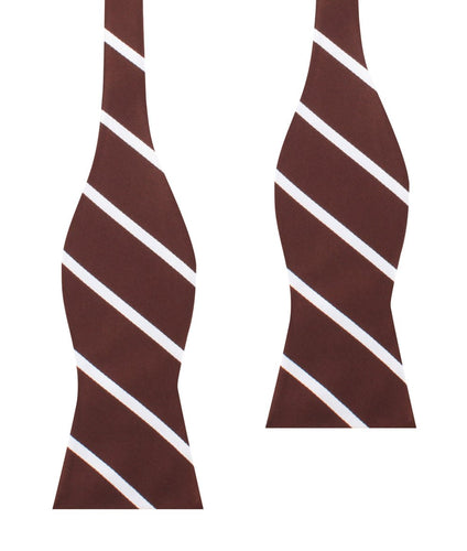 Brown and white striped untied bow tie