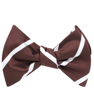 Load image into Gallery viewer, Brown and white striped bow tie tied view