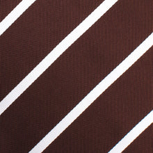 Load image into Gallery viewer, Brown and white striped pre-tied bow tie fabric