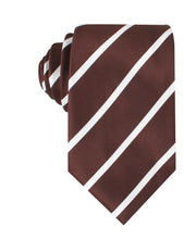 Load image into Gallery viewer, Brown and white striped neck tie front view