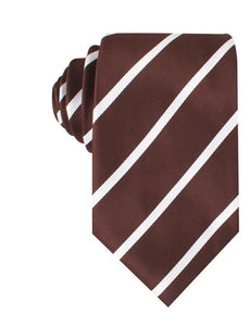 Brown and white striped neck tie front view