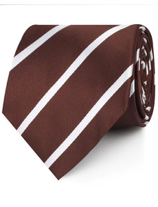 Brown and white striped neck tie rolled view