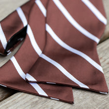 Load image into Gallery viewer, Chocolate Covered Pretzel Untied Bow Tied, Brown with White Stripes