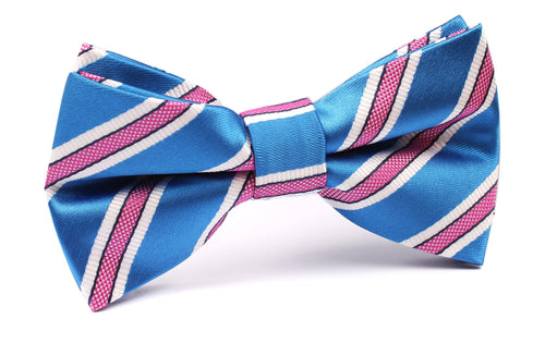 Cotton Candy - Blue and Pink Stripes Pre-Tied Bow Tie