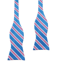 Load image into Gallery viewer, Cotton Candy - Blue and Pink Stripes Self-Tie Bow Tie Untied