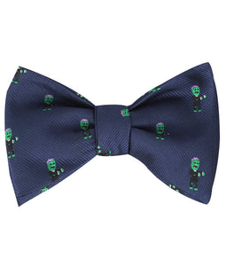 Frankenstein self-tie bow tie tied view