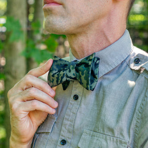 Camouflage bow tie out fit with gray button-down shirt