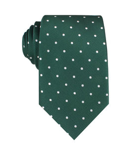 green with white polka dot neck tie