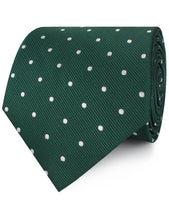 Load image into Gallery viewer, green with white polka dot neck tie rolled view