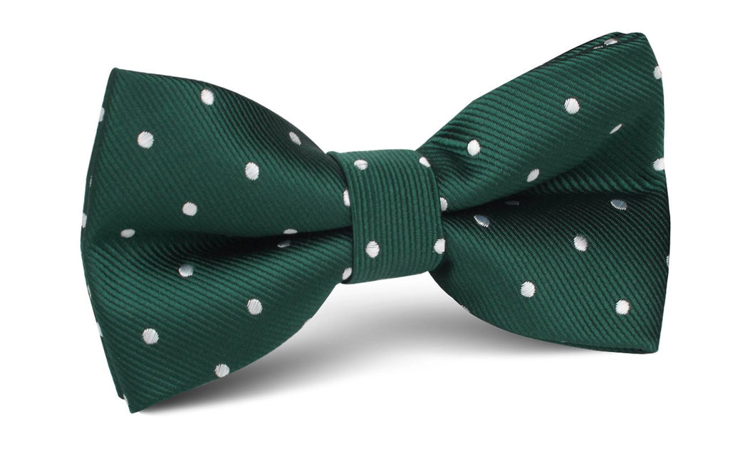 Pine green bow tie with white polka dots for men