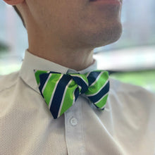 Load image into Gallery viewer, Green and Blue Stripes Self-tie Bow Tie