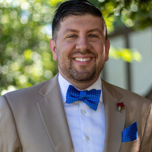 Load image into Gallery viewer, Light it up blue self-tie bow tie with pocket square