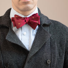 Load image into Gallery viewer, Maroon reindeer Christmas bow tie with gray sweater