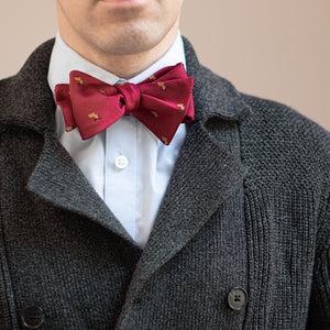 Maroon reindeer Christmas bow tie with gray sweater