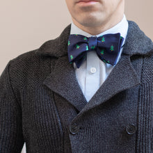 Load image into Gallery viewer, Navy blue Christmas tree bow tie with dark gray knit sweater