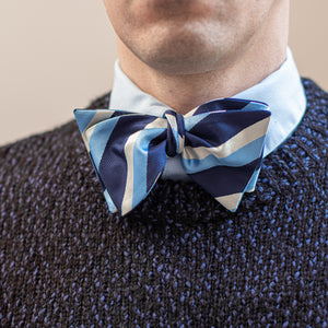 Blue & silver striped bow tie with knit sweater