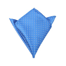 Load image into Gallery viewer, Light It Up Blue Pocket Square - Blue and White Polkadot Pocket Square