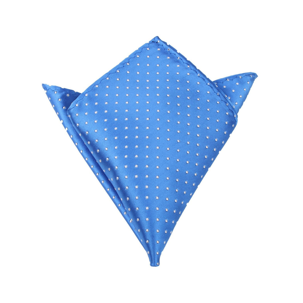 Light It Up Blue Pocket Square - Blue and White Polkadot Pocket Square