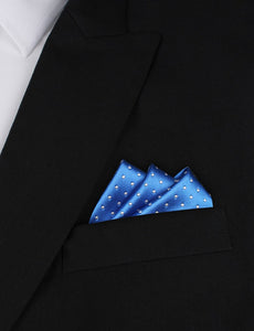 Light It Up Blue Pocket Square - Blue and White Polkadot Pocket Square Outfit