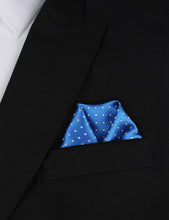 Load image into Gallery viewer, Light It Up Blue Pocket Square - Blue and White Polkadot Pocket Square Outfit