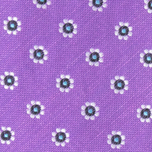 Load image into Gallery viewer, Purple Silk and Linen Floral Bow Tie - Fabric View