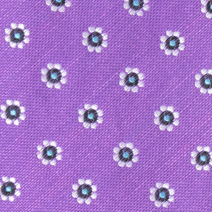 Purple Silk and Linen Floral Bow Tie - Fabric View