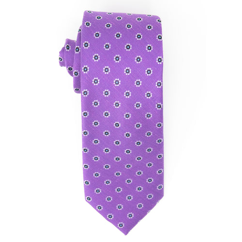 Purple silk & linen necktie with white flowers - top view