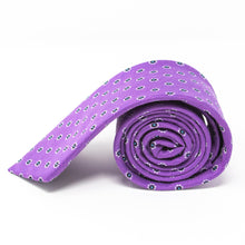 Load image into Gallery viewer, Purple silk & linen necktie with white flowers - side view