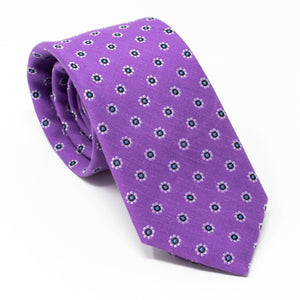 Purple silk & linen necktie with white flowers - angle view