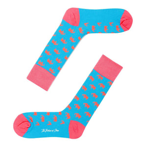 Pink elephant on blue socks - Swimming down the river socks