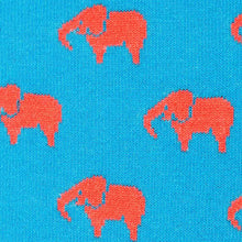 Load image into Gallery viewer, Pink elephant on blue socks fabric