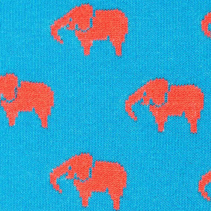 Pink elephant on blue socks fabric