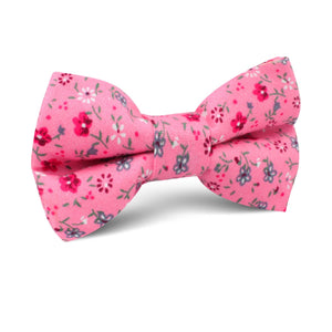 Pink Floral Boy's Bow Tie