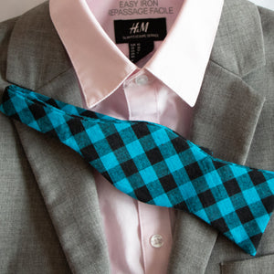 Approachable Scott - Blue and Black Cotton Self-Tied Bow Tie Outfit Idea