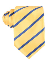 Load image into Gallery viewer, Yellow and Blue Stripes Neck Tie Front View